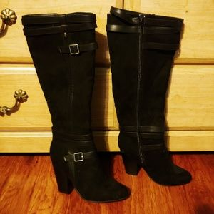 Just Fab Black Suede Boots